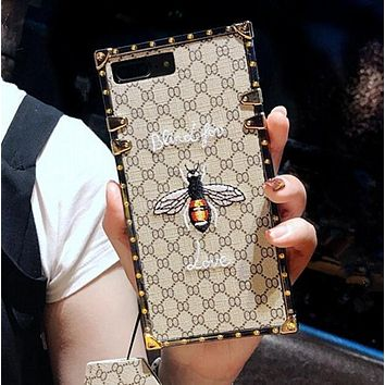 Fashion luxury Hot Gucci Bee Embroidery iPhone Phone Cover Case For iphone 6 6s 6plus