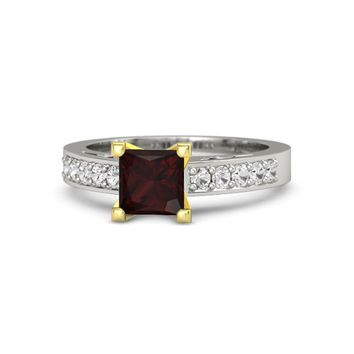 Princess Red Garnet Platinum Ring with White Sapphire