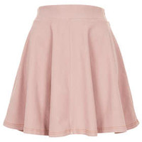 Pink Denim Look Skater Skirt