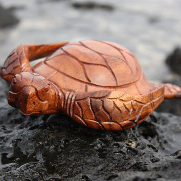 "Carved Hawaiian Turtle Honu 8"" Stained - Hand Carved"