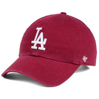 '47 Brand Los Angeles Dodgers Cardinal and White CLEAN UP Cap - Sports Fan Shop By Lids - Men - Macy's