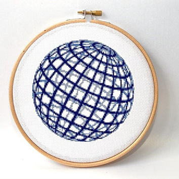 Modern Cross stitch pattern  , Geometric ,  globe , sphere cross stitch