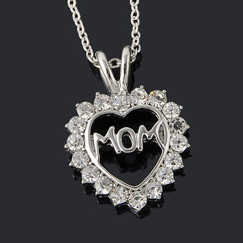 """[Mothers Day]Trendy Love """"Mom"""" Fully-Crystal Heart Pendant Necklace"""
