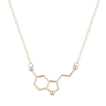 New 1pcs Serotonin Molecule Chemistry Necklace Unique Pendant Necklace Minimalist Jewelry Gift For Girls and Ladies