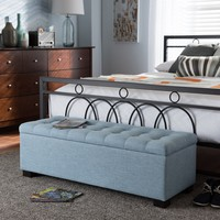 Baxton Studio Roanoke Modern and Contemporary Light Blue Fabric Upholstered Grid-Tufting Storage Ottoman Bench Set of 1