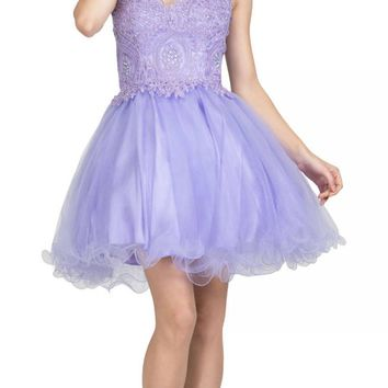 Starbox USA S6413 Strapless Poofy Homecoming Dress Lilac Sweetheart Neckline