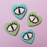 pastel EYEBALL glitter heart brooches - different colours avaliable - cute & creepy