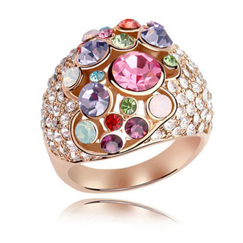 Charm Luxury 18K Rose Gold Plated Wedding Rings With Original Swarovski Elements Crystal For Women Jewels
