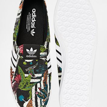 Adidas Originals Adria Black Print Slip On Trainers