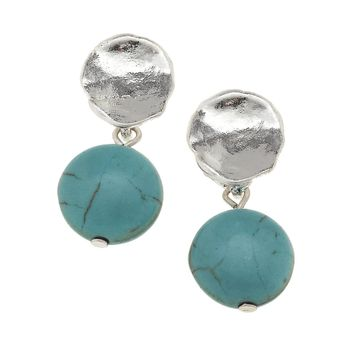 Worn Silver Stud Linked Turquoise Earring