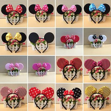 Disney Mickey Minnie Mouse Cartoon Headdress Headwear Hair Hand Accessories Kawaii Plush Toys Birthday Gift for Children Girl
