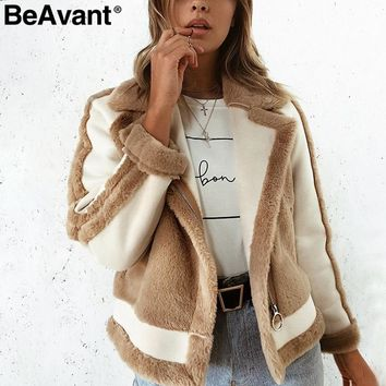 BeAvant Warm khaki fur winter coat women Zipper pocket faux fur jacket coat Female casual patchwork suede outerwear