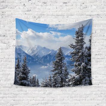 Snowy Dreams Trees Mountains Trendy Boho Wall Art Home Decor Unique Dorm Room Wall Tapestry Artwork