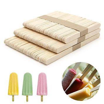 50pcs/lot Ice Cream Tools Funny Ice Cream Stick New Wooden Popsicle Stick DIY kids handmade making Crafts kids gift