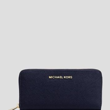 NWT Michael Kors Jet Set Zip Around Continental Leather Wallet NAVY GOLD $138+