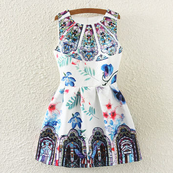 Vintage Print Slim Sleeveless Vest Dress One Piece Dress [4919365764]