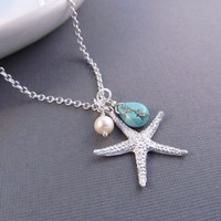 Starfish Necklace Silver Sea Star with Pearl and by IrinSkye