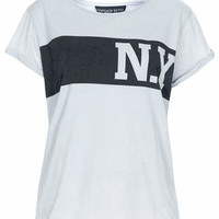 Petite New York Burnout Tee - Pale Blue