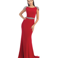 Red Cap Sleeve Gown 2015 Prom Dresses