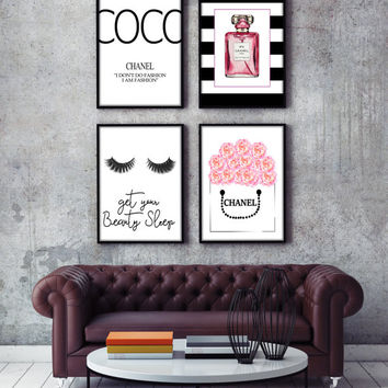 SET OF 4 Digitalprints Coco Chanel print,Bedroom print Beauty Sleep,Coco Chanel bag,Red Coco Chanel Perfum art,home decor,wall art,Fashion