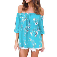Butterfly Off Shoulder Floral Print Top