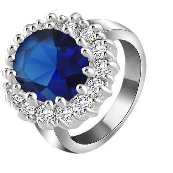 Diana William Silver Color Crystal Ring for Women