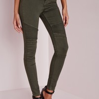 Missguided - Sinner High Waisted Skinny Biker Jeans Khaki