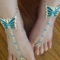Stretchy Sexy silver tone & blue butterfly rhinestone foot jewelry perfect for beach wedding barefoot sandals.Gypsy boho style body jewelry.