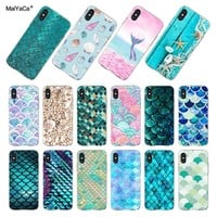MaiYaCa Fashion Shell Mermaid Tail Scale Phone Cover Case for Apple iPhone 8 7 6 6S Plus X 5 5S SE XS XR XSMAX