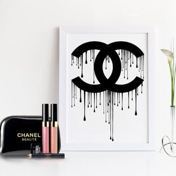 CHANEL DRIPPING LOGO,Coco Chanel Sign,Coco Chanel Print,Fashion Art,Coco Chanel Logo,Black And White,Fashionista,Chanel Wall Art,Chanel Logo