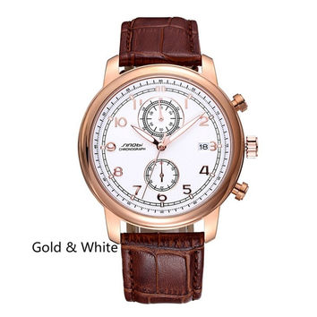SINOBI  Brand Leather Watches Men Women Waterproof Fashion Casual Luminous Quartz Watch Calendar Business Unisex WristWatches = 1956528388