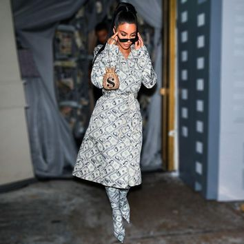 Kim Kardashian Money Trench Dollar Bill Print Dress Women Elegant V Neck Long Sleeve Sashes Trench Dress Robe Femme Dresses