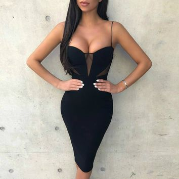 Black Spaghetti Strap Mesh Cutout Bandage Dress
