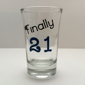 21st Birthday Gifts, 21st Birthday shot glasses, Personalized Shot Glass, 21st birthday party favors