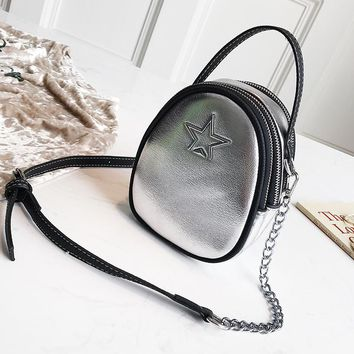 Small Bag Female Handbag Shoulder Simple Messenger Bag Small Round Bag