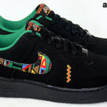 NIKE AIR FORCE 1 GS 7Y NEW URBAN JUNGLE GYM PEACE SIGN 596728 014 BLACK AF1 DS