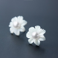 Fresh shell flowers 925 sterling silver earrings,a perfect gift