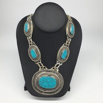 Turkmen Necklace Afghan Ethnic Tribal 5 Cab Turquoise Inlay Kuchi Necklace TN249