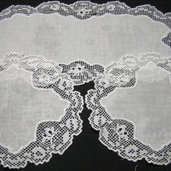 Vintage Dresser Set of 3 Doilies, White with Filet Crochet and Machine Embroidered Lace Trim