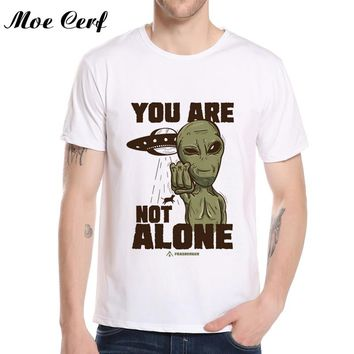 Fashion Alien t shirt you are not alone letter men tops Harajuku Teenagers T-shirts Tops Summer T shirt camisetas hombre L20-50