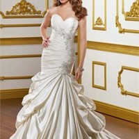 Mermaid Stapless Chapel train satin with embroidery wedding dress WD2129