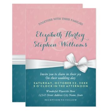 Pink Turquoise White Ribbon Wedding Shower Invite