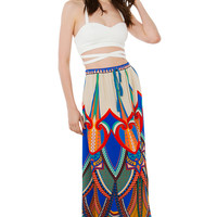 Cream Mix Print Festival Maxi Skirt