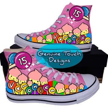Hand Painted Converse Hi Sneakers.Candy cartoon style sneakers. Custom Handpainted sho