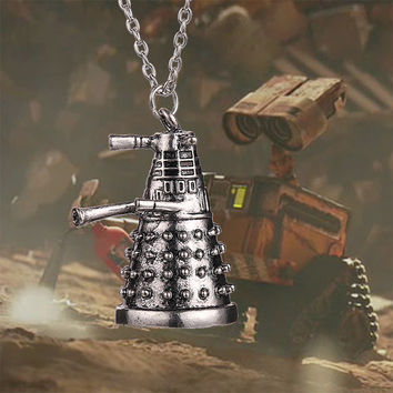 dr doctor who dalek necklace vintage retro alien robot antique silver pendant jewelry for men and women