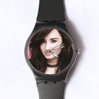 Custom Demi Lovato Watches Classic Black Plastic Watch WT-0688