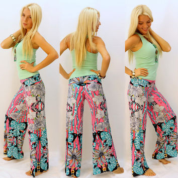 Casual Print Floral Butterfly Pants [4919207428]