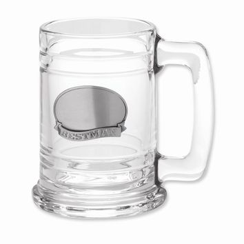 Pewter Engraveable Best man Plate Glass Tankard - Engravable Wedding Gift