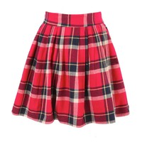 Red Plaid Flannel Skater Skirt at Fashion Union