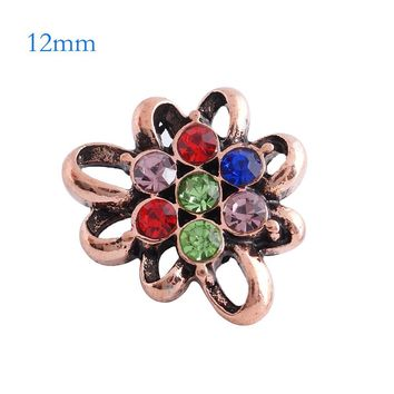 "Snap Charm Rose Gold Mini Petite 12mm Multicolor Flower 7 Stones 1/2"" Diameter Fits Ginger Snaps"